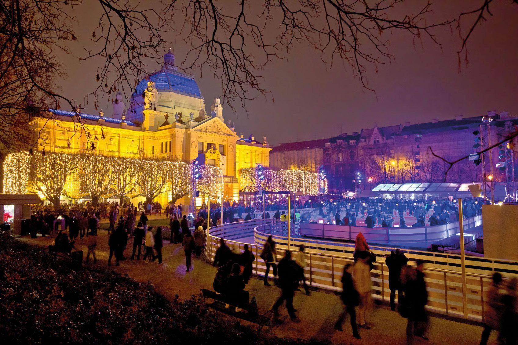 Zagreb Weihnachten park am Abend web
